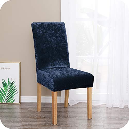 UMI. by Amazon Fundas para sillas de Comedor elásticas Suave Azul Marino(Juego de 4)