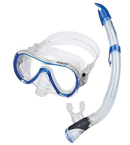 Seac Unisex– Erwachsene Set Giglio Valve Schnorchelset mit Maske und Schnorchel mit Wasserausblasventil, blau, Standard