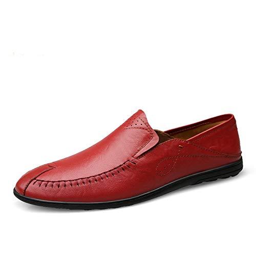Mocasines de Cuero Zapatos Casuales Ligeros Bajos para Ayudar Zapatos Individuales Zapatos de Hombre .Zapatos de Moda (Color : Vino Rojo, Size : 43)
