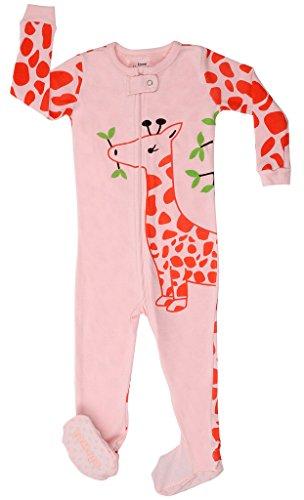 elowel | Schlafanzug | Babys - Kinder | Mädchen | 1-Teilig | Strampler | Design Pyjama | Eng Anliegend | 100% Baumwolle | Bequem | Größe: 4 Jahre (104) | Design: Giraffe | Farbe: Rosa