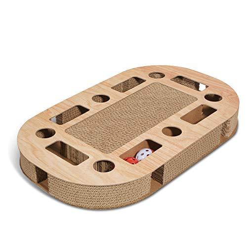 Supremery Katzenspielplatz 52x31x5,5cm mit integrierter Kratzpappe XXL Katzenspielzeug Kratzmöbel Kratzbrett aus Wellpappe für Katzen mit Spielball