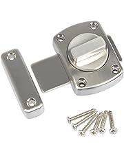 FOCCTS deurgrendel, diefstalbeveiliging, geborsteld roestvrij staal, deurslot voor badkamerdeur, kastdeur, te gebruiken op verschillende deuren, zilver