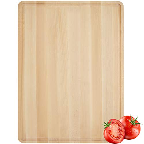 Large Maple Wood Cutting Board for Kitchen 18x12 Cheese Charcuterie Board (Free Gift Box) Extra Thick Reversible Butcher Block Chopping Board with Handles and Juice Groove by AZRHOM