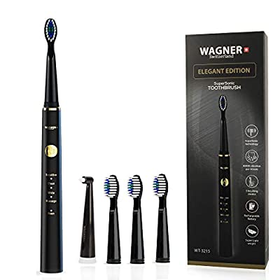 WAGNER Switzerland SuperSonic Electric Toothbrush ELEGANT EDITION, 5 Brushing Modes, 40000 VPM, 4 DuPont Bristles Brush Heads, Advanced Li-Ion Rechargeable Battery