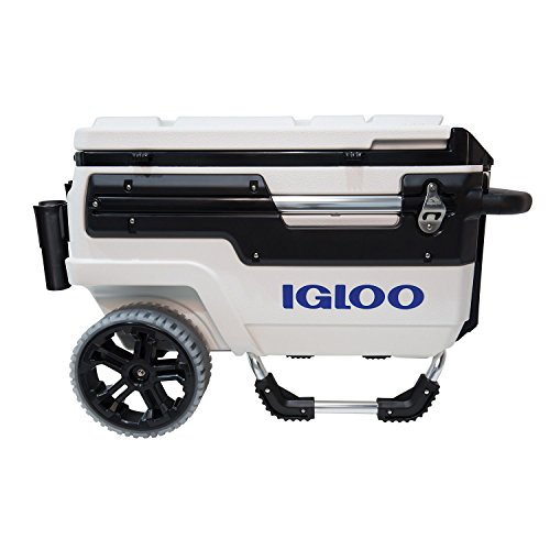 Igloo Trailmate Marine Wheeled Cooler, White/Black/White/Chrome, 70 Quart