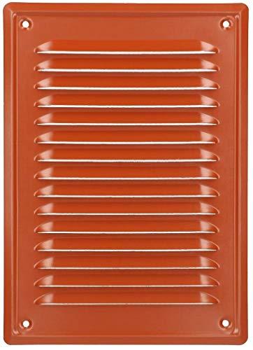 Rejilla de ventilación KOTARBAU 230 x 165 mm, enroscada, lacada, rejilla de ventilación para chimenea, color rojo ladrillo, resistente a la corrosión