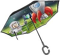 ボーイズルーム裏返し傘レースドライバーコンペティション傘C字型ハンドル、耐紫外線防水スタイル07-42.5x31.5インチ(108cm x 80cm)