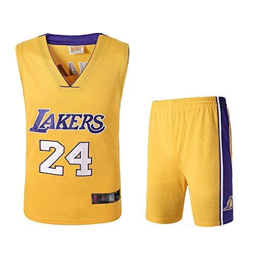 N / A Men's Basketball Fan Jerseys, Kobe Bean Bryant Vintage Swingman Jersey, Sportswear, Basketball Uniform Summer,Yellow,L