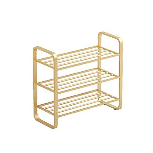JIADUOBAO Estantería de metal para zapatos, 3 niveles, para salón, entrada, pasillo y guardarropa, 45/60/80/100 x 28 x 53 cm, color: dorado (tamaño: 45 x 28 x 53 cm)