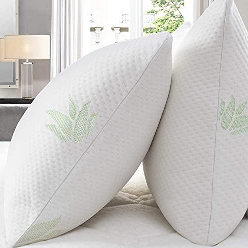 Cuscini letto set di 2 con federe in Aloe Vera, 40x60cm