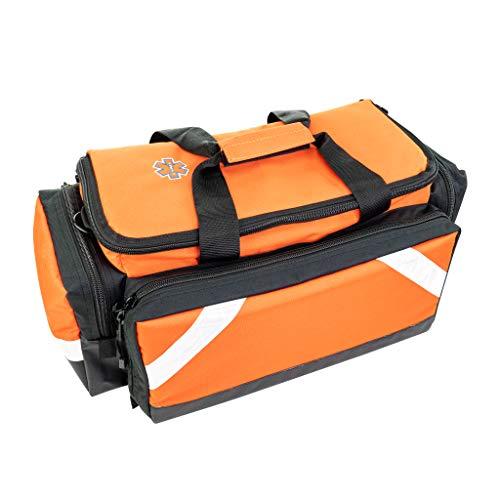 LINE2design Medical Elite Trauma Bag - EMS EMT Paramedic First Responder - Heavy-Duty Zippered Pockets Portable Travel Size Emergency First Aid Equipment Bag - Orange