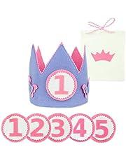 Corona Cumpleaños y Fiestas Niña de 1-5 Años. Diseñada y Fabricada en España + Números 1 al 5 + Bolsa de Algodón para Corona y Números. Confeccionada con Material Suave y consistente.