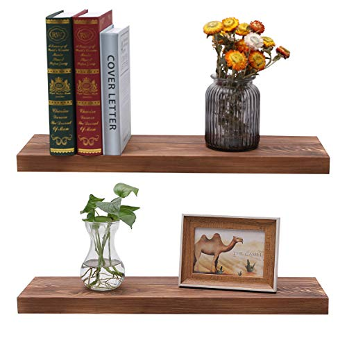 Floating Shelves Wood Wall Mounted Storage Shelves Rustic Display Wooden Shelf for Living Room Kitchen Bathroom Bedroom, Set of 2, 24' x 6.7'