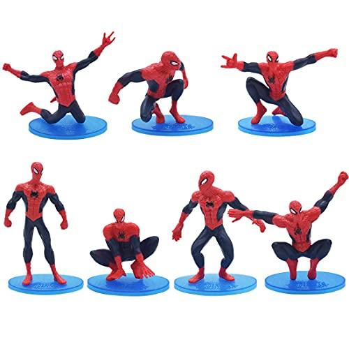 Caland Spiderman gâteau Figurine Ornements Spiderman Gâteau De Douche Fête pour Garçons Filles Fête d'anniversaire Cupcake Décoration 7Pcs