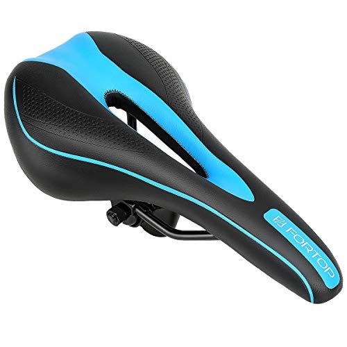 FORTOP Most Comfortable Bike Seat Bicycle Saddle Cushion for Men Women with Mountain Bikes Road Bikes Universal Riding Bike (Blue)