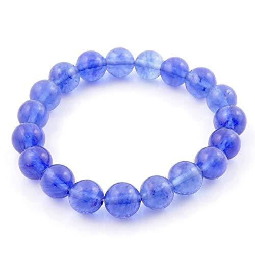ARITZI – Pulsera elástica con Bolitas de Piedras Naturales con un diámetro de 10 mm - Cuarzo Azul