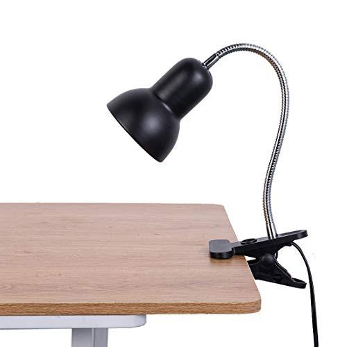 デスクライト?LEDクリップライト?E26口金?LED電球5W付属3段調色(暖色/昼光色/白色)?,360°回転?読書?仕事?PC電気スタンド作業デスク?卓上ランプ?に (黒い)