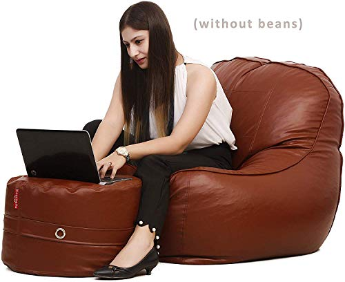Couchette XXXL Lounge Chair Luxury Bean Bag Cover with Footrest, Without Beans, Brown (Without Fillers) (White, XXL)