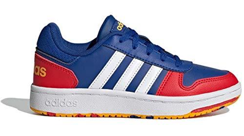 adidas Hoops 2.0 K, Zapatillas de Baloncesto Unisex Adulto, AZUREA/FTWBLA/Rojint, 39 1/3 EU