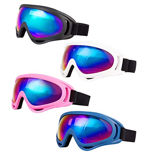 LJDJ Ski Goggles, Pack of 4 - Snowboard Adjustable UV 400 Protective Motorcycle...