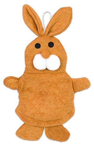 Waschhandschuh, Hase - Waschlappen Waschen Pflege Körperpflege für Kinder Tier Handpuppe Badewanne 25 x 22 cm Kuschelhase Osterhase Geschenkidee Hasen Braun