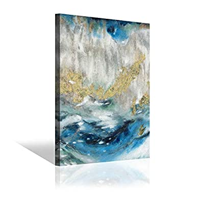 Abstract Painting Canvas Wall Art: Blue Artwork Hand Painted Picture for Living Room from Wallart 4U