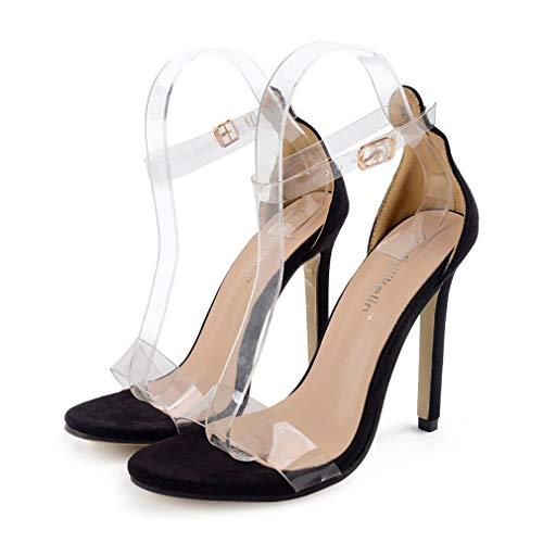 High Heels Sandaletten Damen Stiletto Schuhe, 11.5cm Frauen Römersandalen, Transparente Peep Toe Sandalen, Knöchel Schnalle Party Freizeit Hochzeit Abend Sommer Strand Schuhe Schwarz (37, Schwarz)