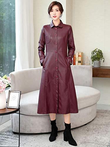 XL_nspiyi Lange Elegante Lederjacke für Damen-Dunkelrot_L.