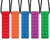 vitasemcepli set di 5 collana da masticare sensoriale per bambini in silicone masticabile collana antistress ottimo per evitarsi a masticare i fazzoletti o il collo delle maglie(colori puri)