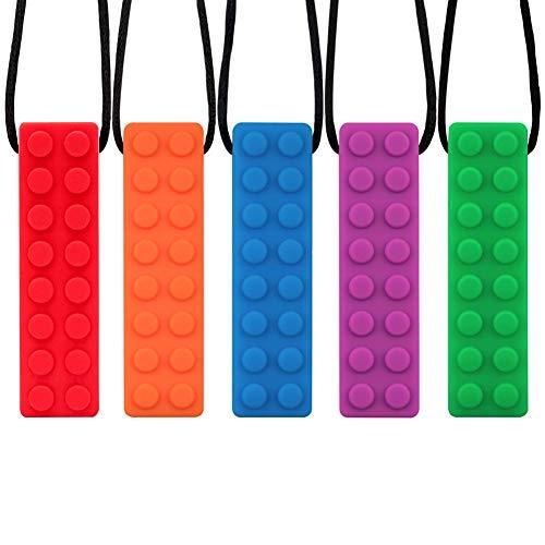 Novelfun Sensory Chew Halskette, 5er Pack Silikon Kauen Anhänger Training und Entwicklung Zappeln Spielzeug Kauen Halskette für Kinderkrankheiten,Autismus ADHS SPD,Oral Motor,Angst,Autistische Kinder