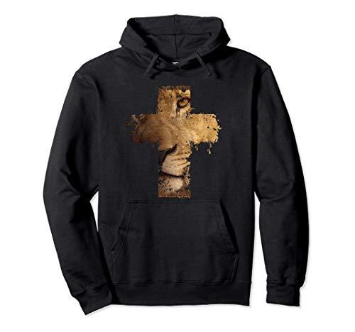 Lion Cross Christian Faith Pullover Hoodie