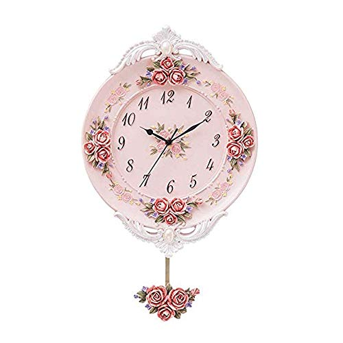 Wall Clock European Style Simple and Creative Rural Style Wall Clock, Silent Quartz Clock Pendulum Clock, Suitable for Living Room and Bedroom. Kitchen Clock