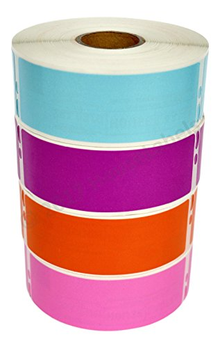 """Ships Fast 4 Rolls; 1 Roll of Each Color, 350 Labels Per Roll of Compatible with DYMO 30252 Blue, Purple, Orange, and Pink Address Labels (1-1/8"""" x 3-1/2"""") - BPA Free!"""