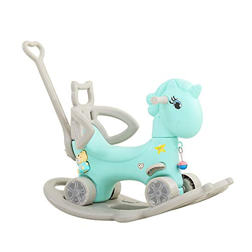 FZTX-LPX Trojanische Kinder Schaukelpferd Spielzeug, Baby REIT Schaukelstuhl, Outdoor-Garten Spielplatz Schaukelpferd, geeignet für Kinder 1-6 Jahre alt,Blau