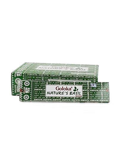 GOLOKA Natures Basil Incense Box of 12 Packs