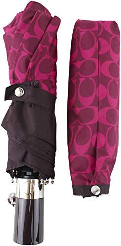 Coach Women's Signature Print Umbrella in Magenta, Style 91361