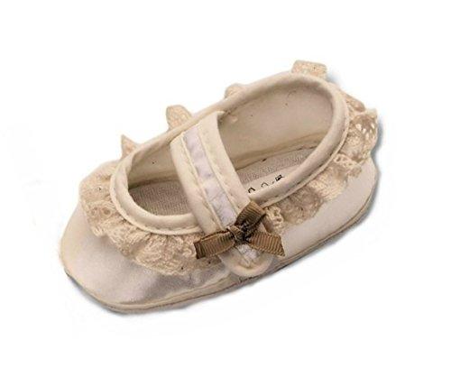 Festliche-r Baby-Schuh TP26/00 Gr. 17 Tauf-Schuhe Ecru Creme für Babies kleine Mädchen zu Hochzeit-en