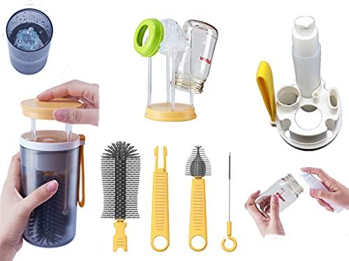 Cepillos y estante para biberones de viaje - Kit 6 en 1 para la limpieza de botellas (cepillos de silicona para uso alimentario, con tendedero / taza para la desinfección por inmersión (amarillo)