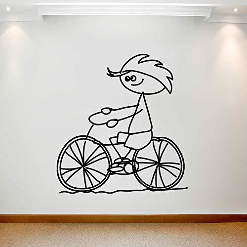 Geiqianjiumai Cartoon große Wandkunst Aufkleber abnehmbare Cartoon wasserdicht Junge Fahrrad dekorative Malerei Bild heiße grau 42X45CM