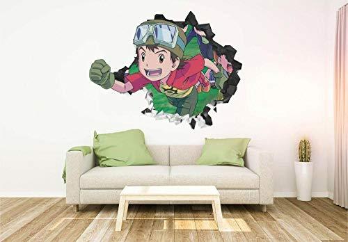 Pegatina De Pared Ventana 3D Digimon Cartoon Arte Mural Para Vinilo Room Decor Wallpaper 20x27inch(50x70cm)