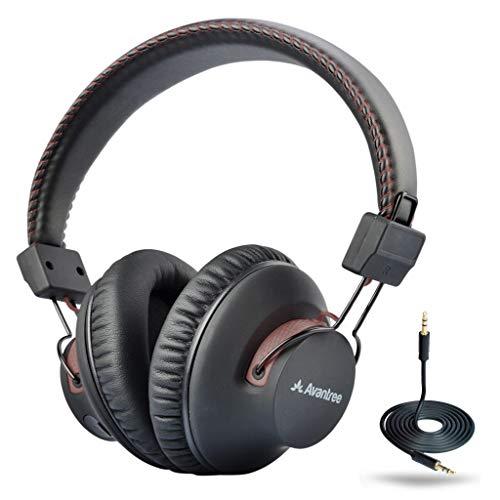 Avantree AS9S 40hr Auriculares Diadema Bluetooth inalámbricos con micrófono para el Ordenador, Ver la TV, Extra Cómodos y Ligeros, Cascos Estéreo de Alta Fidelidad para PC Teléfono móvil - Marrón