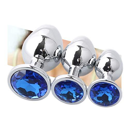 Juego de 3 Herramientas de Masaje de raspado de Acero Gua Sha - Herramientas para la Herramienta de movilización de Tejidos Blandos con Cristal de joyería Azul - Kit de Entrenador