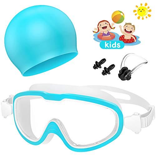 Flagicon Gafas de Natación, Profesional Anti Niebla Sin Fugas Protección UV Gafas Natación con Libre Clip de Nariz Enchufe de oído Gorro de baño para Hombres Mujeres Adultos Niños de la Juventud