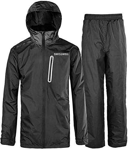 SWISSWELL Men's Rain Suit Waterproof Lightweight Hooded Rainwear