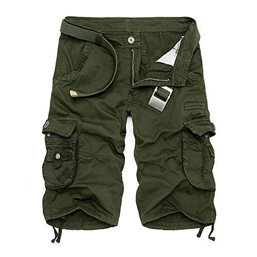 BIBOKAOKE Cargo Shorts Herren Sommer Vintage Kurze Hose mit vielen Taschen Slim Fit Casual Camouflage Cargohose Regular Bermuda Arbeitshose Outdoors Chinohose Straight Herrenshorts Knielänge