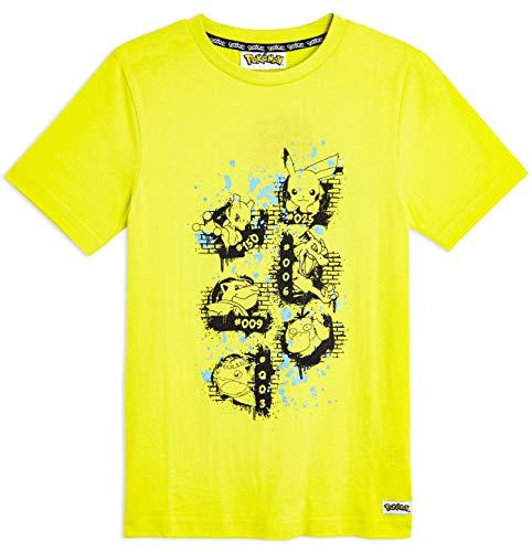 Pokèmon Camiseta Niño Amarilla de Manga Corta, con Pikachu Mewtwo Blastoise Psyduck Charizard Venusaur, Ropa Niño Camisetas de Algodón 100%, Regalos para Niños Adolescentes