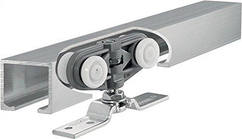 GEZE Rollan 40 N Schiebetürbeschlag Komplett Systen für Schiebetür mit Laufschiene (Türbreite 51-70cm, Laufrohr 115cm)
