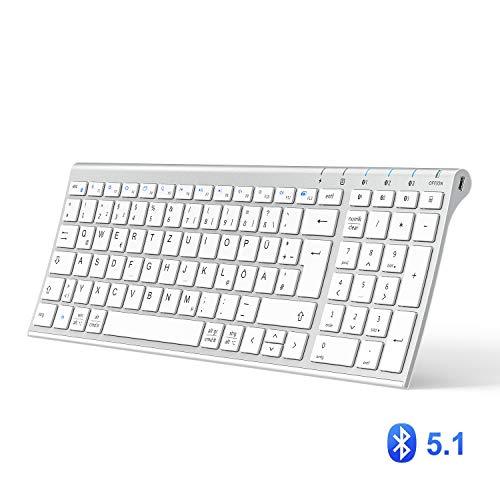 iClever BK10 Bluetooth-Tastatur, Multi-Geräte-Tastatur Wieder aufladbare Bluetooth 5.1 mit Nummernblock Ergonomisches Design Stabile Verbindung Weiße Tastatur für iOS, Android, Windows