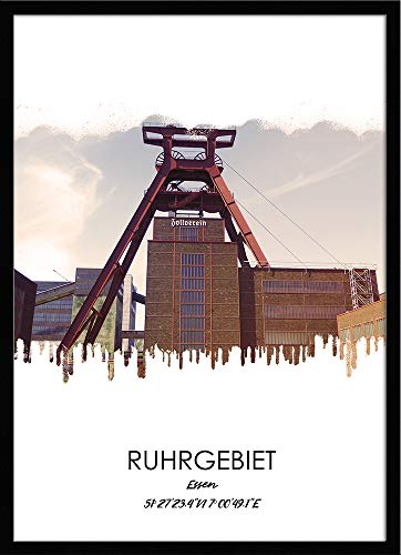 artissimo, Design-Edition, Ruhrgebiets-Bild gerahmt, 51x71cm, PE6450-ER, Ruhrgebiet: Stadt Essen, Bild, Wandbild mit Rahmen, gerahmtes Poster, Geschenk-Idee Ruhrpott, Geschenk Ruhrgebiet