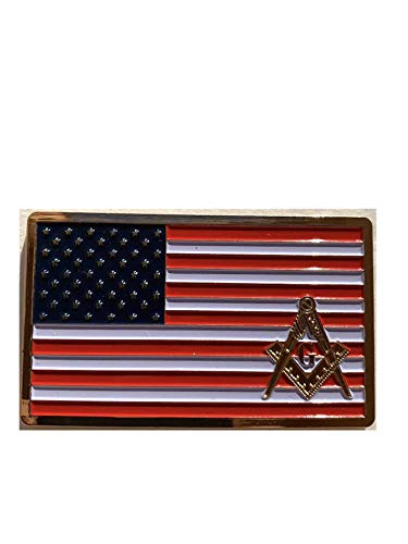Masonic American Flag Plate Metal Auto Car Truck Tag Decal Heavy Emblem Red White Golden